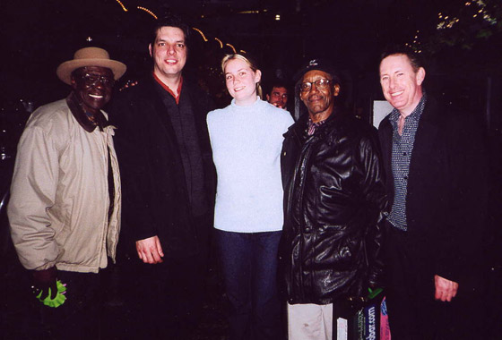 Bob Strogen, Myself, Rachel Jermyn, Willie Big Eyes Smith and Jack DeKeyzer at Blues on Bellair, Toronto 2003
