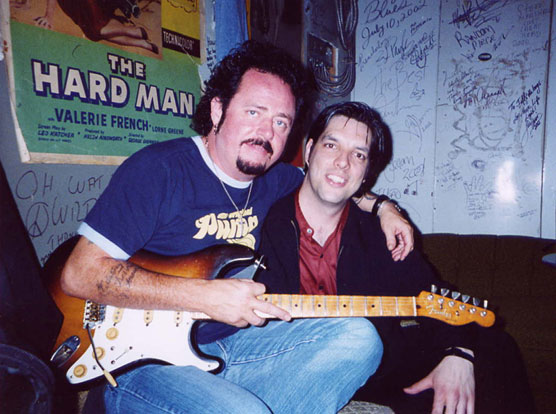 Steve Lukather backroom at Healey's, Toronto in May 2003