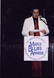 Accepting 2003 Maple Blues Award for Drummer of the Year , photo by Bruce Hall of the Grand River Blues Society