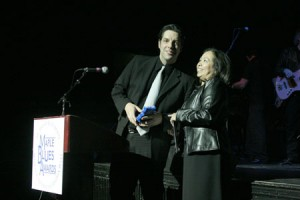 Accepting the 2004 Maple Blues Award for Drummer of the Year, for the fourth consecutive year !   photo by greg king .