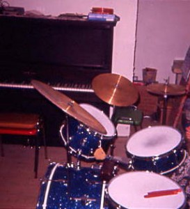 My First Drumkit, a Blue Sparkley Pearl-made Silvertone drum kit 1975