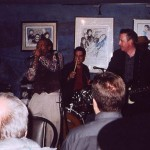 Willie Big Eyes Smith, Muddy Water's long time drummer, at Blues on Bellair 2003 with Al Lerman, Jack DeKeyzer and Bob Strogen