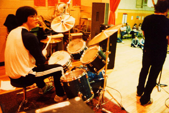 High School Band with my Pearl-made, Silvertone Drumkit 1984